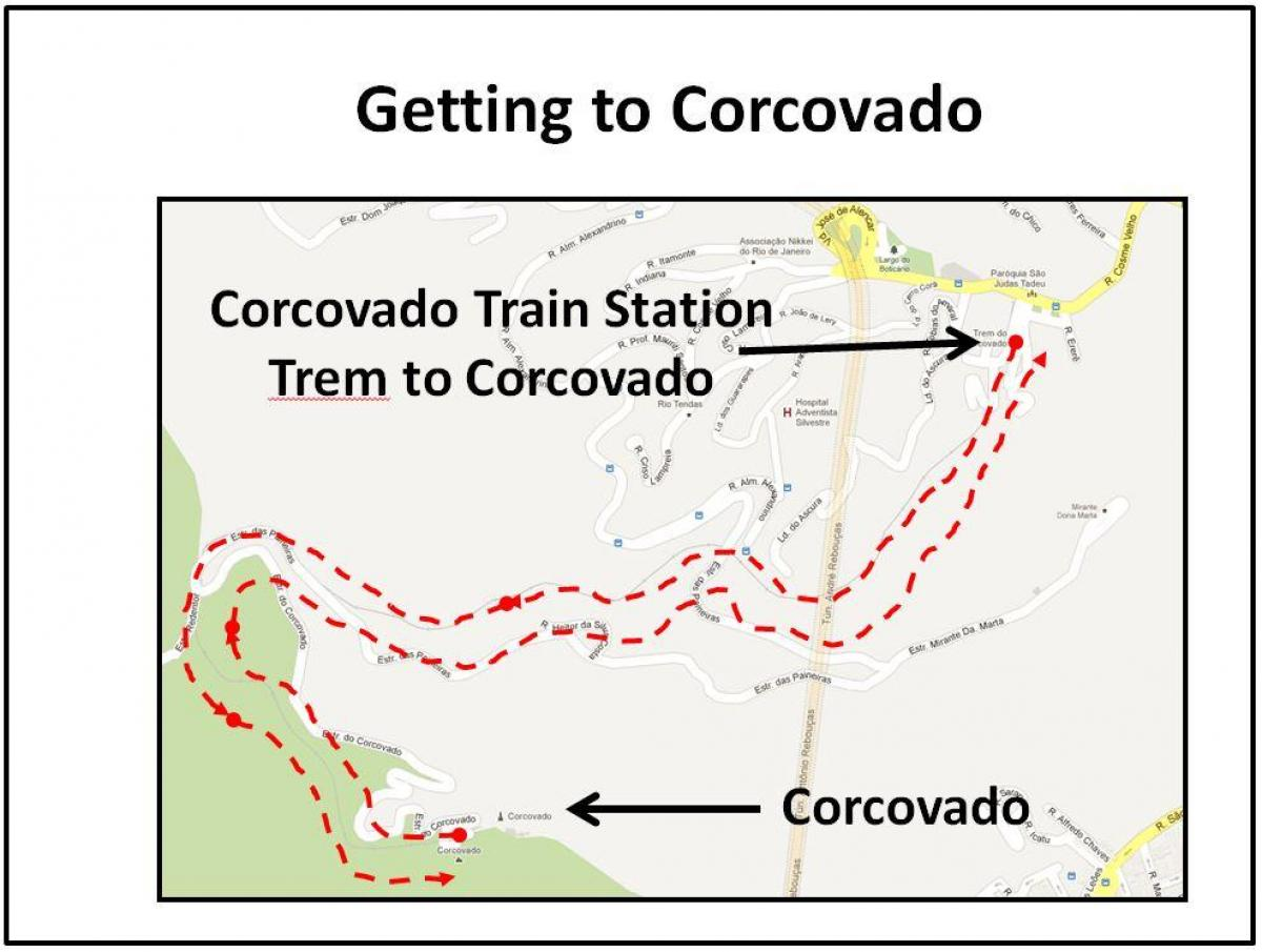 Mapa do Corcovado de trem