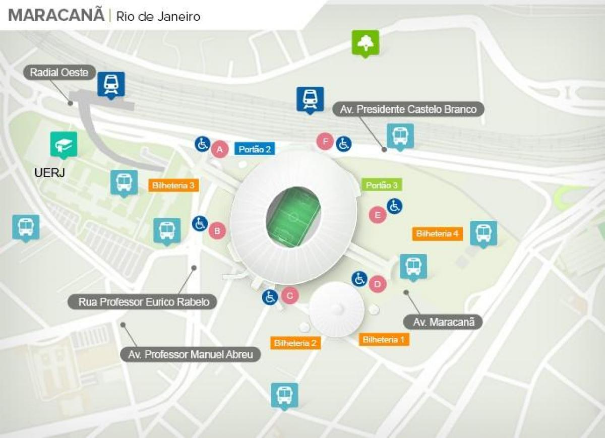 Mapa do estádio do Maracanã accès