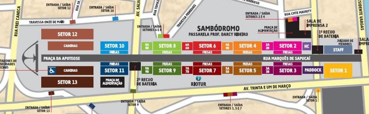 Mapa do Sambódromo